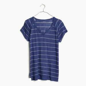 New Madewell Dusty Twilight Choral Split Neck Tee